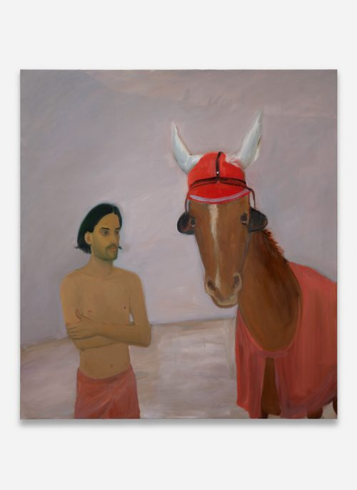 The Horse Wearing a Red Ear Bonnet and Eye Blinders, 2020